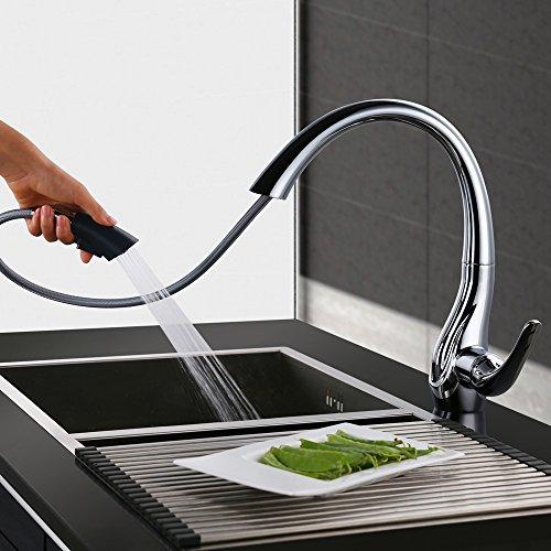 Homelody 360° drehbar Wasserhahn Küche mit Ausziehbar Küchenarmatur ...