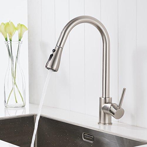 Timaco Wasserhahn Küche Gebürsteter Nickel Küchenarmatur Mit Brause Für  Küchen Spüle Armatur Küche