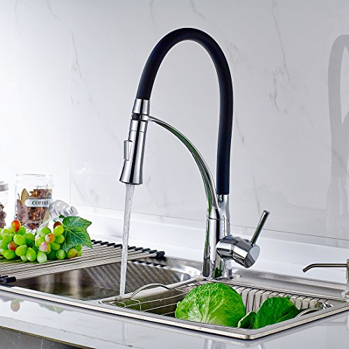 Timaco Küchenarmatur Armatur Spüle Spültischarmatur Wasserhahn Küche  Mischbatterie Spiralfederarmatur Schwarz