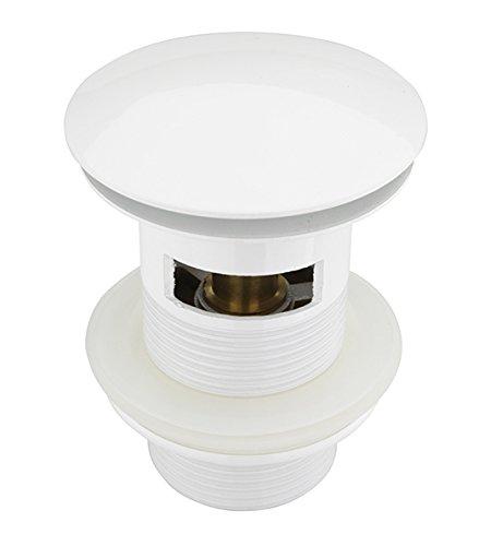 ATCO® PU19 Mit Überlauf Pop Up Ventil Ablauf Ablaufgarnitur Excenter  Exzenter Abfluss Klick Ventil Waschbecken Siphon Röhrensiphon Weiss